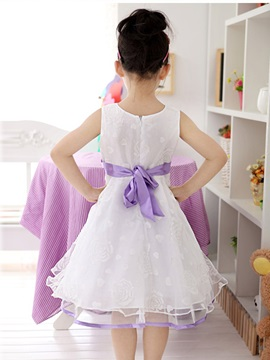 White Floral Print Bowknot Decorated Girl's Lace Dress