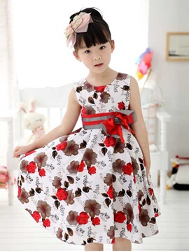 Red Floral Print Bowknot Decorated Girl