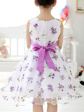 Floral Printing Bowknot Decorated Girl's Dress
