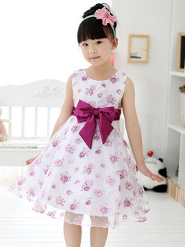 Purple Bowknot Decorated Floral Print Girl