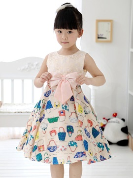 Pink Bowknot Decorated Print Patchwork Girl's Dress