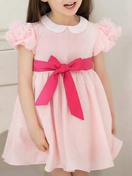 Solid Color Bandage Bowknot Girl's Dress