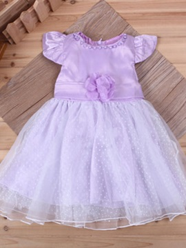 Solid Color Diamond Decorated Bowknot Tiered Dress