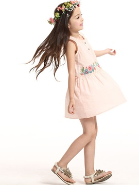 Chic Cotton Embroidery Floral Sleeveless Girl Dress