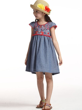 Attractive Cotton &Linen Embroidery Girl Dress