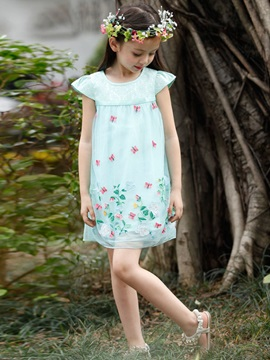 Pretty Embroidery Butterfly Floral Girl Dress
