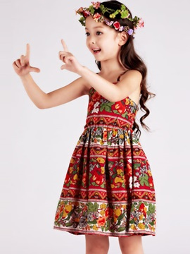 Brilliant Floral Sleeveless Girl Braces Skirt