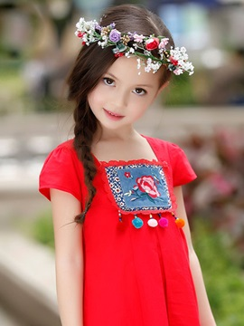 Attractive Embroidery Floral Cotton Girl Dress