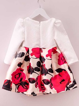 Printed Flower Decoration Round Neck Girl's Dress