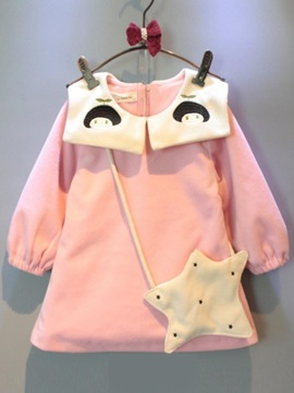 Cartoon Long Sleeve Doll Collar Girl's Dress