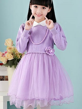 Beaded Decorated Flower Long Sleeve Girl's Dress