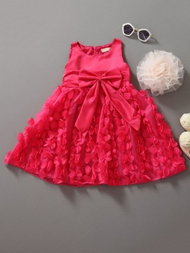Bowknot and Petals Decoration Girl's Dress