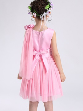 Solid Color Bowknot Girl's Dress