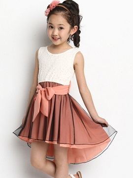 Asymmetrical Girl's Dress with Bowknot