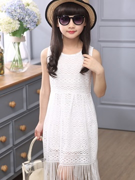 Lace Crochet Tassel Girl's Dress