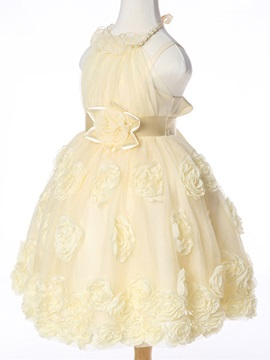Halter Rose Decoration Girl's Dress