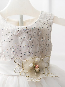 Embroidered Flower Layer Girl's Dress