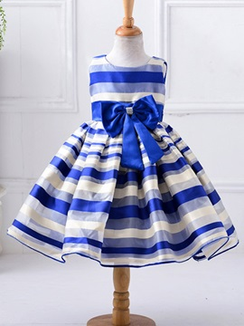 Colorful Stripe Girl's Skater Dress with Bowknot
