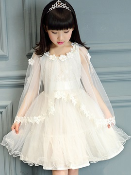 Vogue Round-Neck Embroidery Girl's Dress