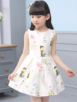 Round-Neck Multicolor Printing Girl's Dress