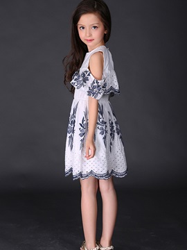 Chic Embroidery Cold-Shoulder Girl's Dress