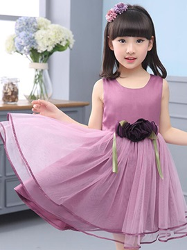 Pure Color Flower Decorated Girl's Dress