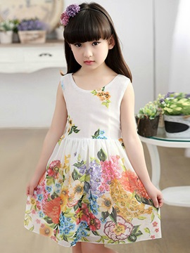 Floral Bowknot Decorated Girl's Dress