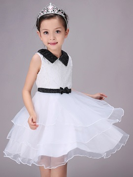 Organza White Girl Sleeveless Tutu Dress
