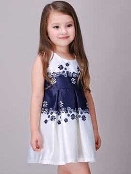 Round-Neck Colored Girl's A-Line Dress