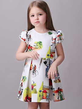 Colored Printing Short Sleeveless Girl's Dress