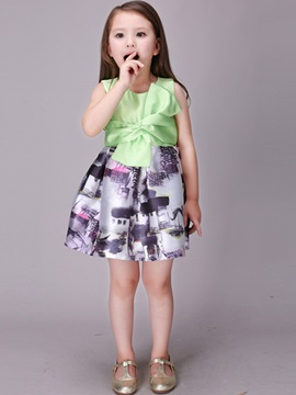 Color Block Bowknot Girl's Dress