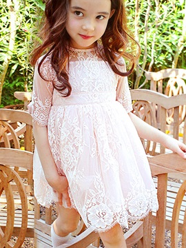 Chic Lace 3/4 Sleeve Girl's Dress