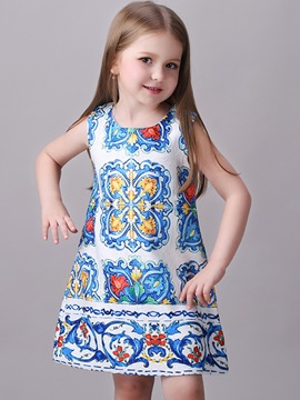 ChicColored Printing Geometric Patterns Girls' Dress