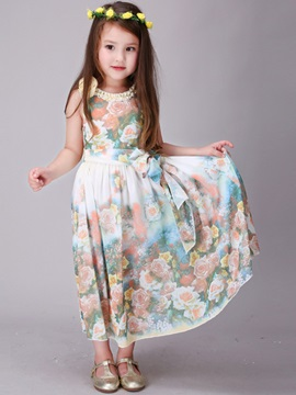 Floral Printed Decal Collar Belt-Tied Girls' Dress