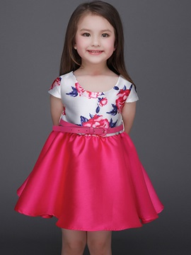 Chic Color Block Belt Girls' Dress