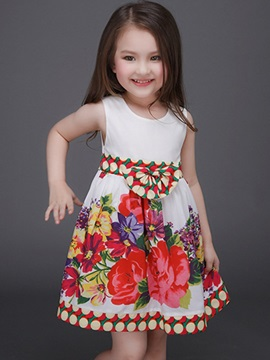 Lace-Trim Floral Printed Belt Girls' Dress