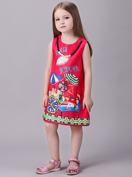 Colored Printing Sleeveless Girl's Dress
