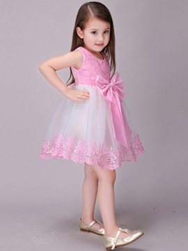 Stylish Bowknot Lace-Trim Girl's Dress