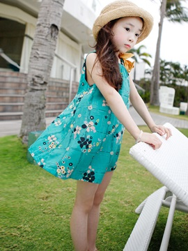 Round-Neck Floral Girl's A-Line Dress