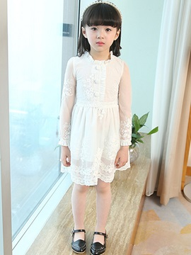 Chic Buttoned Long Sleeve Girl's Dress