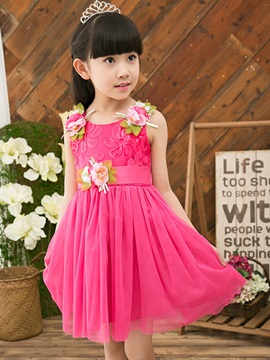 Vogue Lace Flower Decorated Girl's Dress