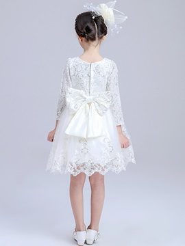 Elegant Lace 3/4 Sleeve Girl's Dress