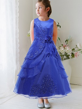 Elegant Asymmetrical Stacked Sequins Appliques Girls' Dress