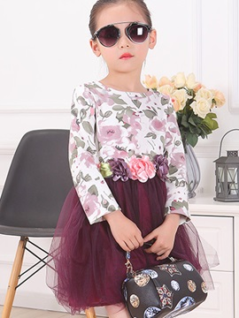 Sweet Dimensional Flowers Appliques Floral Printed Girls' Dress