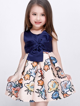 Chic Belt-Tied Bowknot Floral Printed Girls' Dress