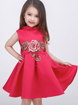Chic Floral Embroidery Appliques Pleated Girls' Dress