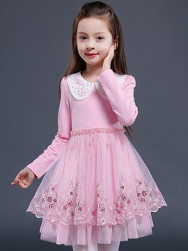 Floral Embroidery Girl's Princess Dress
