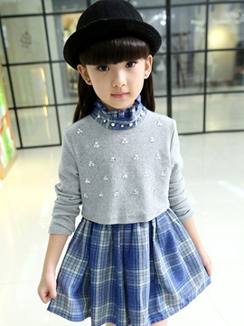 Double-Layer Plaid Stand Collar Girls Dress