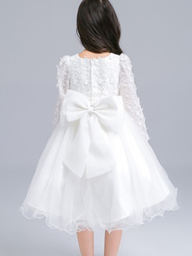 Lace Back Bow Flower Girls Dress