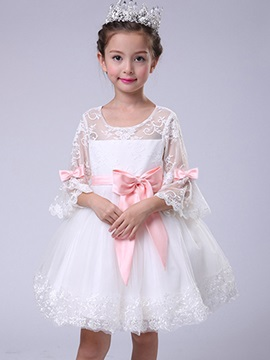 Flare Sleeve Bow Lace Girls Princess Dress